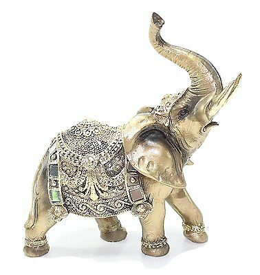 "Feng Shui 7""(H) Brass Color Elegant Elephant Trunk Statue Wealth Lucky Figurine"