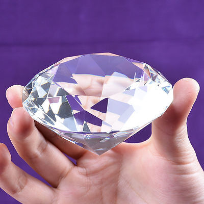 Crystal Clear Paperweight Faceted Cut Glass Giant Diamond Jewel Large 80mm
