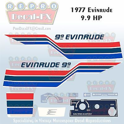 1977 Evinrude 9.9 HP Outboard Reproduction 11 Piece Marine Vinyl Decals 10724-25