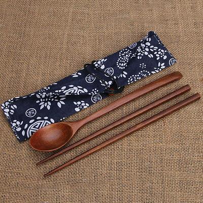 Portable Wooden Cutlery Sets Wooden Chopsticks And Spoons Travel Suit MU