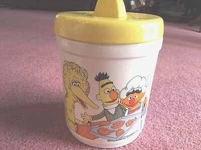 Vintage Sesame Street Canister Cookie Jar w/Lid 1980 Ceramic Yellow & White