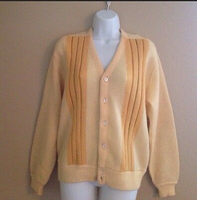 True Vintage Mohair Sweater Womens Cardigan Yellow Wool 1950s Medium VLV Retro