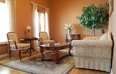 French Colonial Style 3-Piece Cream Fabric Love Seat Settee and Armchair Set