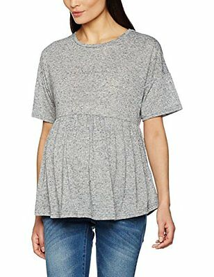 Tg 50| New Look Maternity Peplum Jersey, T-Shirt Premaman Donna, Grey (Mid Grey)
