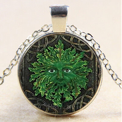 NEW Cabochon Glass Necklace Silver woman pendants(celtic green man)
