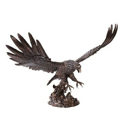 "19"" Long Large Bald Eagle Catching Fish Statue Bronze Finish Resin Statue"