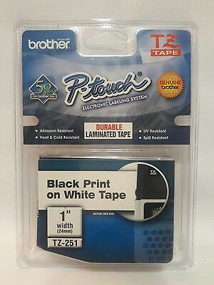 """Brother P Touch Tz251 1"""" White Labels"""