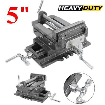 "5"" Cross Sliding Drill Press Vise Slide Vice Heavy Duty Machine Shop Tools T1"