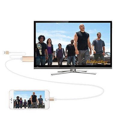 Lightening to HDMI HDTV TV Adapter Cable with USB power for Iphone 5 5C 5S 6 6S