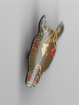 Vintage Brown with White Forehead red eyes Horse Head old enamel lapel pin