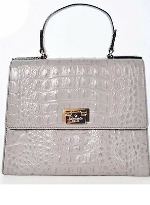 d14dde512f12 Kate Spade Orchard Valley Doris Alligator Croc Leather Satchel Purse Cream