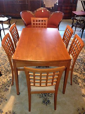 Mid century modern expandable Calligaris Italy cherry dining room table 6 chairs