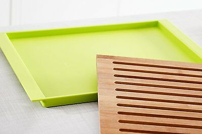 Natural Bamboo Chopping/Cutting Board 38.5 x 27.5 cm with Bread Tray Great Gift