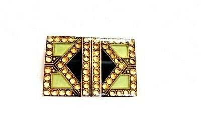 Vintage 1950s Art Deco made in France Bex style enamel rhinestone brooch