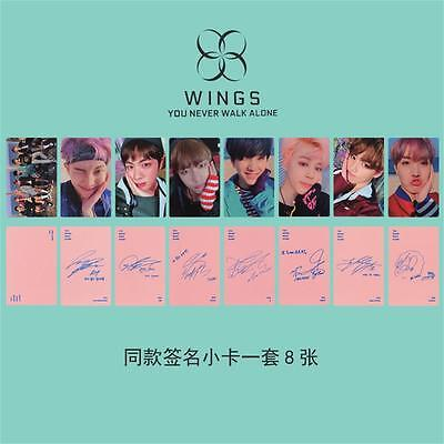 Kpop BTS Wings You Never Walk Alone Paper Photo Cards SUGA V Autograph Photocard