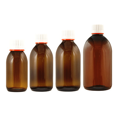 Amber Glass Sirop Bottle with Tamper Evident Lid