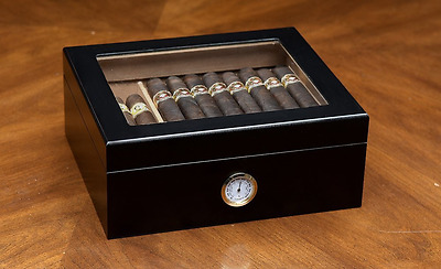 Cigar Humidor Wood Cedar Black Box Hygrometer Glass Top Humidifier Smoking Case