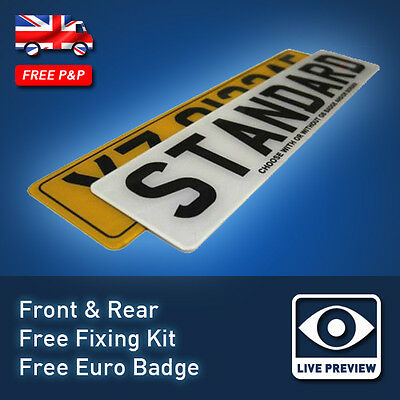 PAIR of Front & Rear Oblong Car Road Worthy Licence Number Plates Standard 16