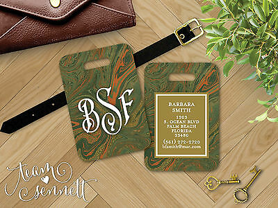"""""""Hunter"""" Green Marble Personalized or Monogrammed ID Tag - Luggage Bag Suitcase"""