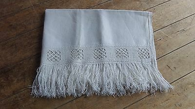 French Vintage Pretty Cotton Guest Towel hand made Lace ends with Fringe Large