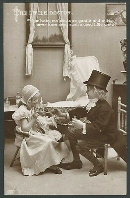 Children The Little Doctor Vintage EAS Real Photo Postcard