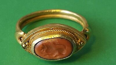VERY NICE RARE ROMAN SOLID Gold Lion  ring
