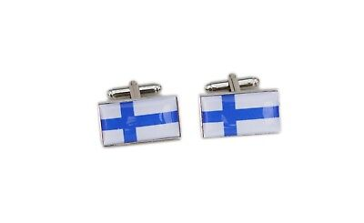 Finland Flag Cufflinks with free organza pouch