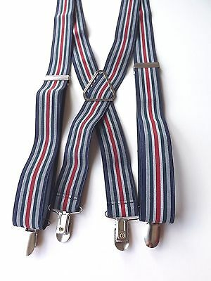 "RETRO Clip On Braces Red, White, Blue Stripes Elasticated 1.25"" Strap FREE P&P"