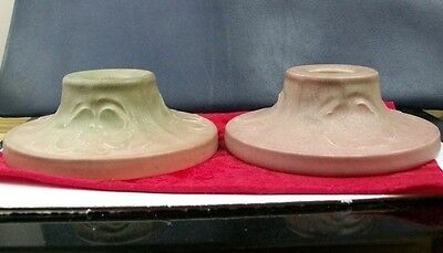 A pair of Rookwood Pottery candle holders from 1920