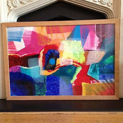 Abstract Oil Painting Signed H Elliott Large Original Multicoloured 90cm X 60cm.