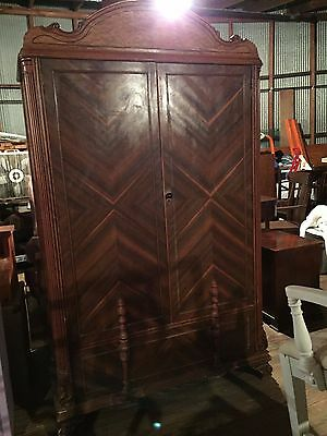 Vintage Cedar Armoire Wardrobe Ornate Design Bedroom Closet Storage
