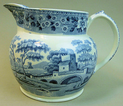 A Fine Victorian Spode Blue & White Pottery Tower Pattern Jug C.1850