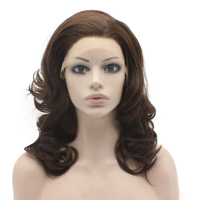 16inch Wavy Heat Resistant Fiber  Natural Brown Lace Front  Wig