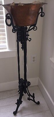 Antique Victorian Ornate Plant Stand Cast Iron Entryway Outdoor Porch Decor
