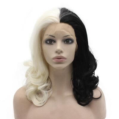 16inch Medium Long Wavy Half White Black Two Tone Lace Front Wig