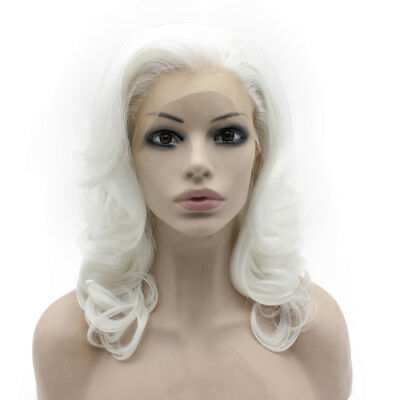 Medium Long Wavy Heat Resistant Fiber  White Lace Front Synthetic Wig