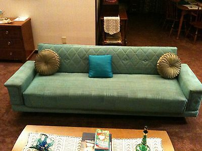 1950 S Vintage Click Clack Sofa Bed Sleeper And Chair Set Mid Century