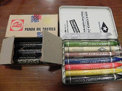 lot ancienne pastel Talens Holland PANDA OIL, decoro wax Eberhard Faber