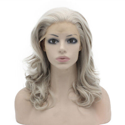 16inch Shoulder Length Wavy Gray Blonde Natural Lace Front Wig