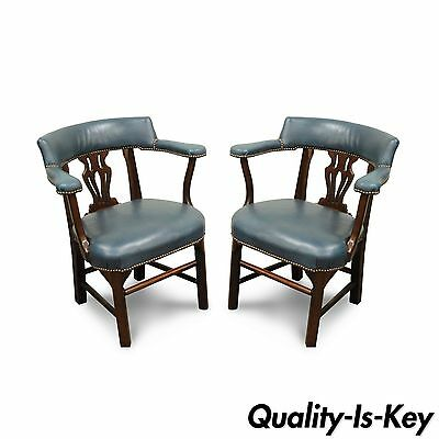 Pair of Vtg Chippendale Ephraim Marsh Blue Leather Mahogany Office Arm Chairs