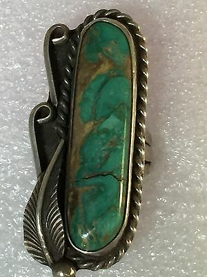 Old Native American Indian Navajo Silver & Green Turquoise Pawn Ring Size 7