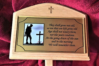 Wooden Grave Tree Marker Memorial Cross Design Solid Oak & Personalised Plaque