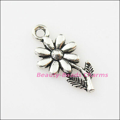 20 New Flower Leaf Tibetan Silver Tone Charms Pendants 10x19mm