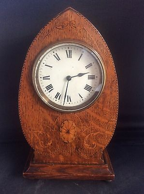 Arts & Crafts English Oak Inlaid Wood Banding Mantle Clock French Movement