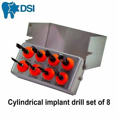 8 Dental Implant External Irrigation Cylindrical Surgical Tool Drill Set Black