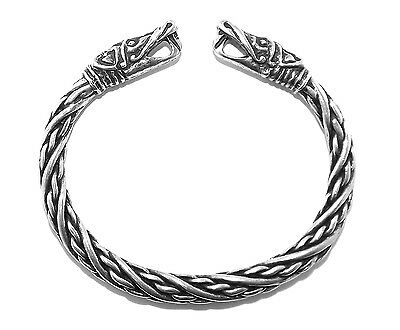 Viking Dragon Head Solid Pewter Bracelet (Small size silver colour Norse Pagan)