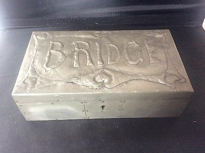 Arts & Crafts Antique handmade Pewter BRIDGE Playing Card Box Cedar Wood Lined