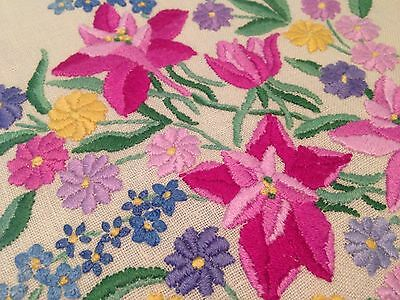 Vintage Hand Embroidered Cream Linen Tablecloth EXQUISITE VIBRANT FLOWERS