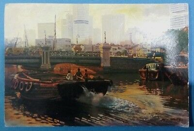 Singapore postcard:Old and New(Singapore River).Oil painting by MR CHUA MIA TEE.