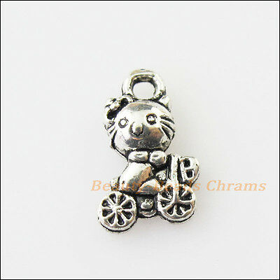 20 New Animal Cat On Bicycle Tibetan Silver Tone Charms Pendants 7x12mm